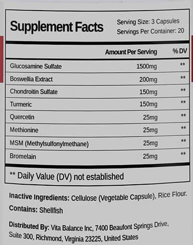 Supplement Facts label list of ingredients in Projoint Plus
