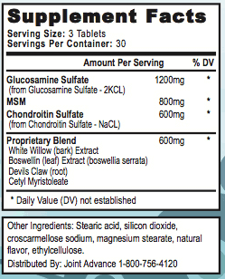 Joint Advance supplement facts ingredients label