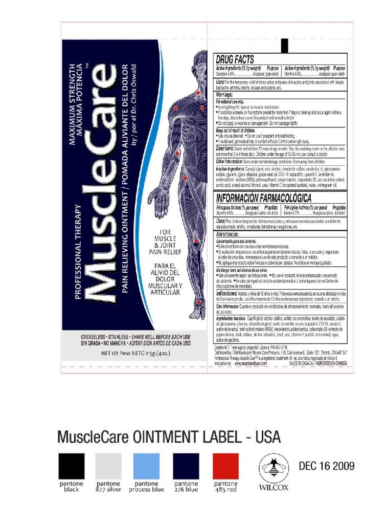 List of ingredients in Muscle Care Roll On Relief by Dr. Chris Oswald