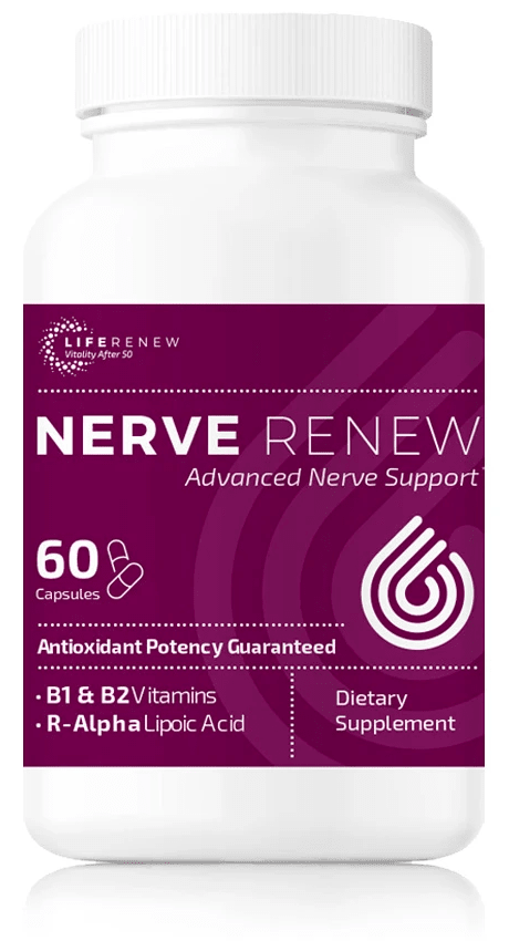 60 capsule bottle of Nerve Renew neuropathy support supplement